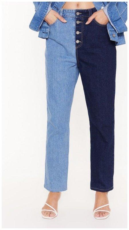 Модные джинсы со штанинами разного цвета