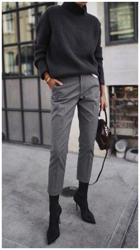 Осенний образ с брюками в серых тонах