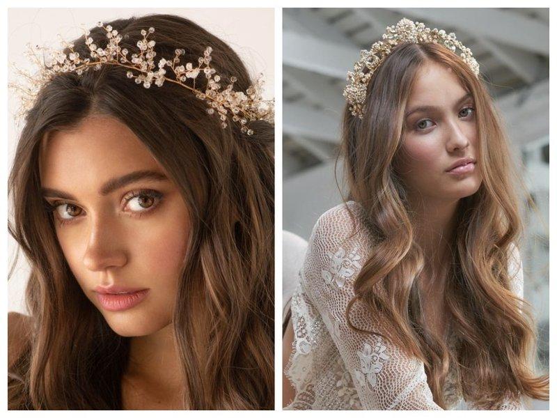 Красивые невесты с прической и короной