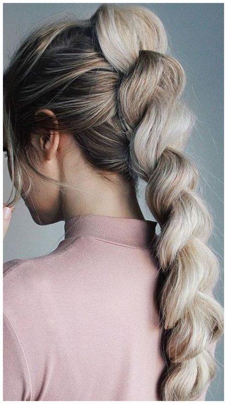 Красивая коса с резинками на свадьбу