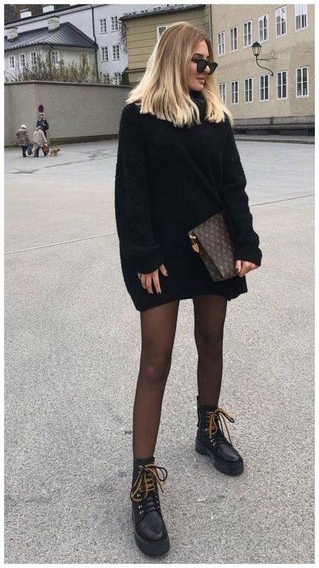 Как носить платье свитер, чтобы выглядеть модно