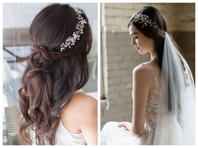 Полураспущенные волосы и корона
