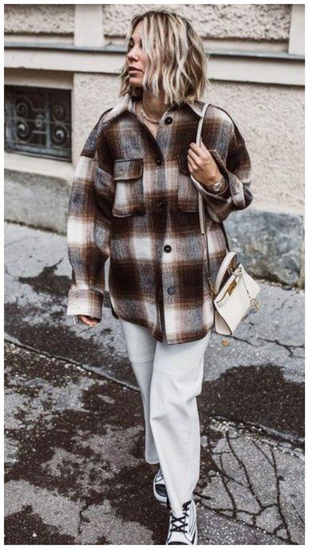 Стильный образ с курткой-рубашкой фото