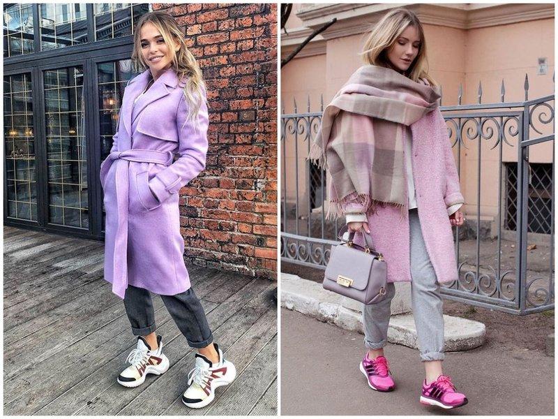 Как носить пальто и кроссовки