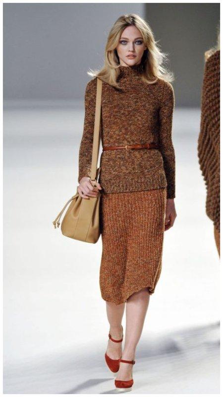 Модная трикотажная юбка фото