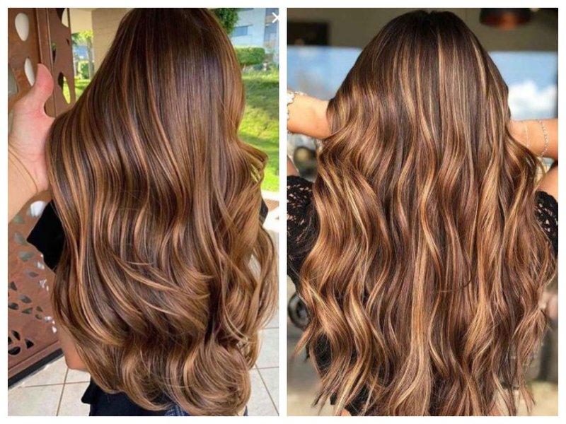Волосы шоколадкого цвета со светлыми прядями