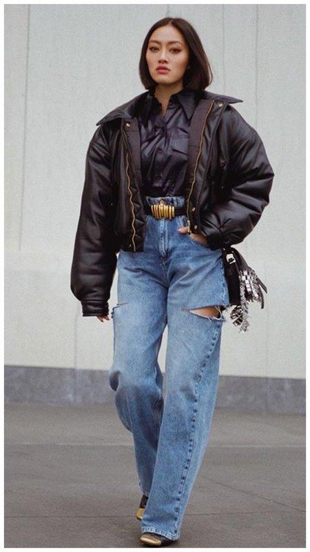Фото модные джинсы с прорезями по бокам