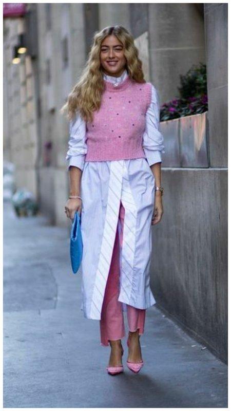 Как носить брюки и очень длинную рубашку-платье