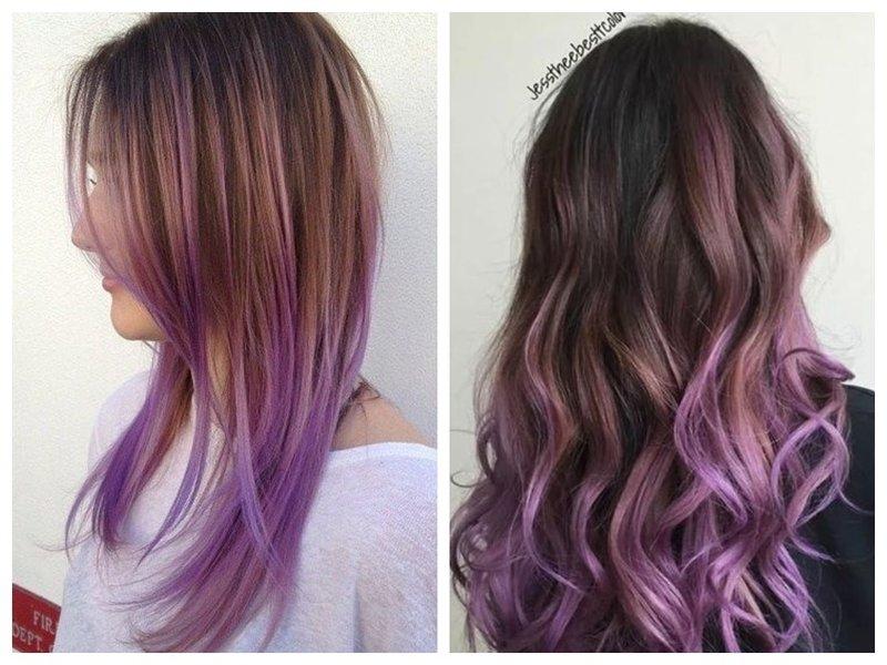 Фиолетовые концы волос