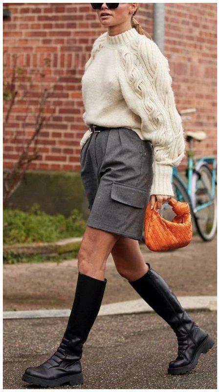 Модный образ с шортами на осень