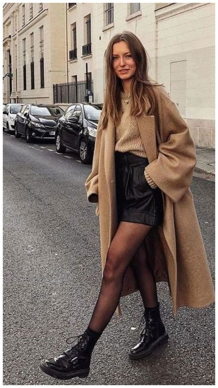 Пальто и кожаные шорты - модный образ