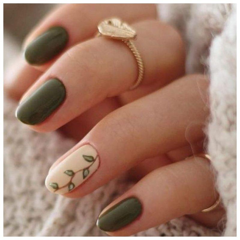 Оливковые ногти с дизайном фото