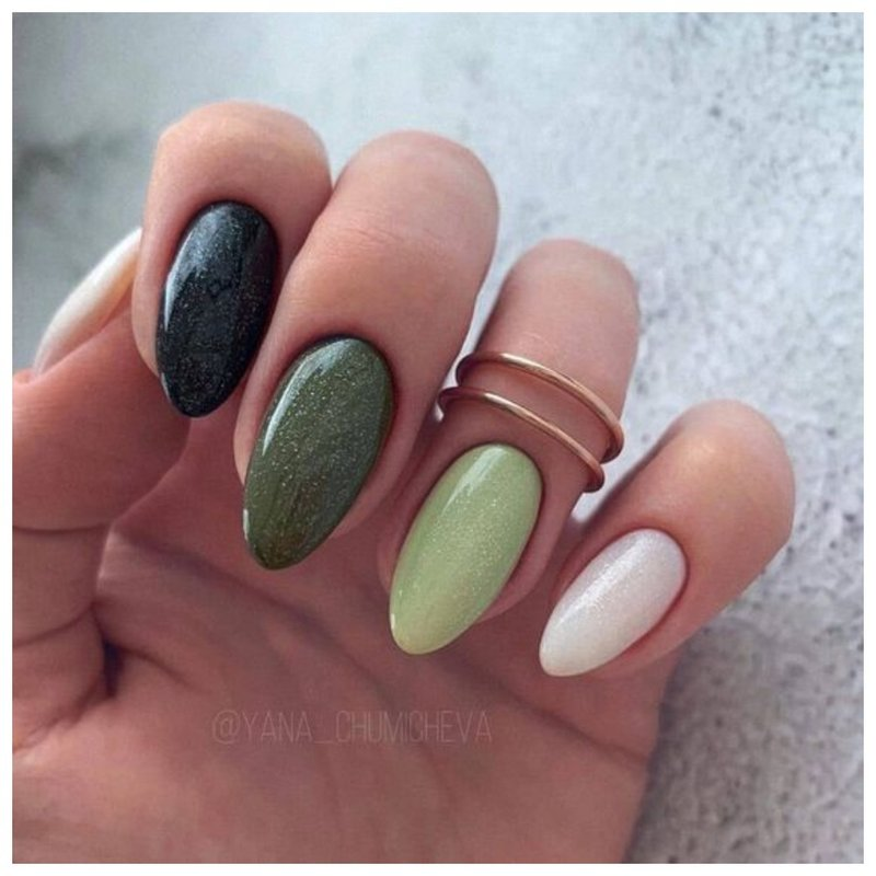 Элегантные оливковые ногти