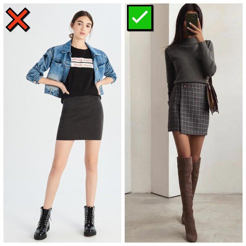 Модна и немодная короткая юбка
