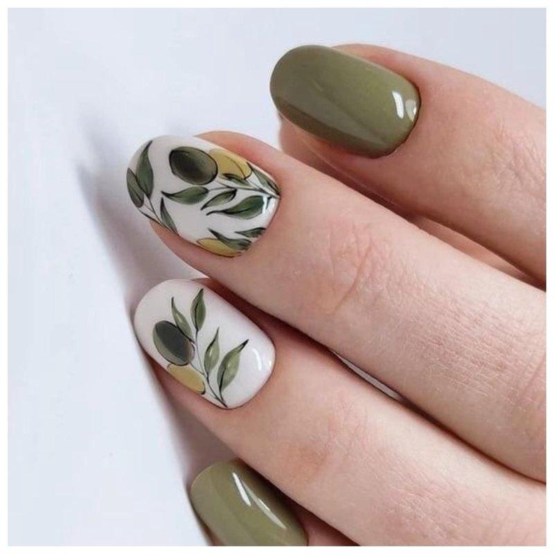 Рисунки оливок на ногтях