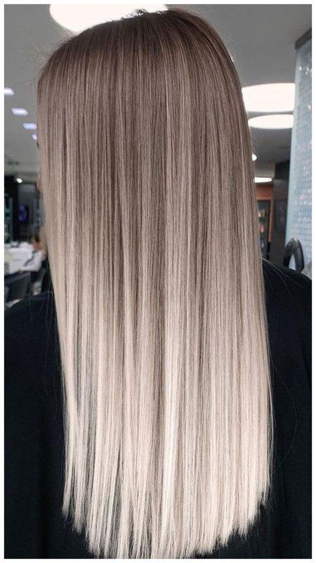 Длинные волосы пепельно-жемчужного оттенка с мелированием