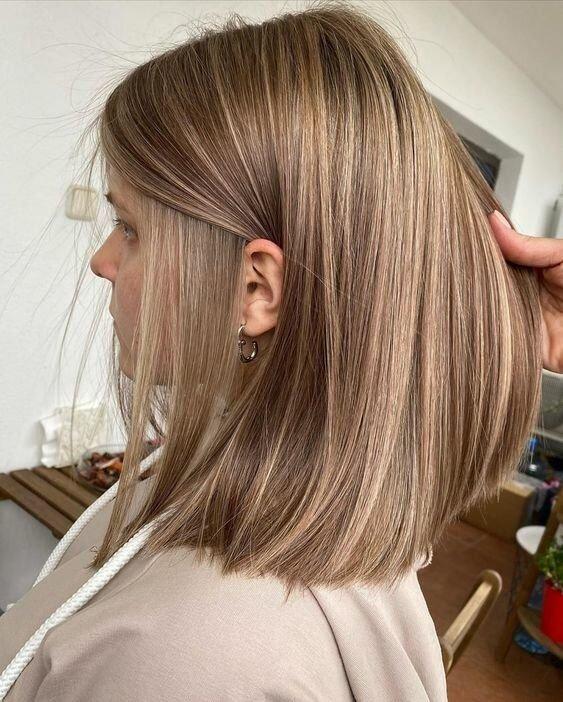 Очень мелкое мелирование на русые волосы