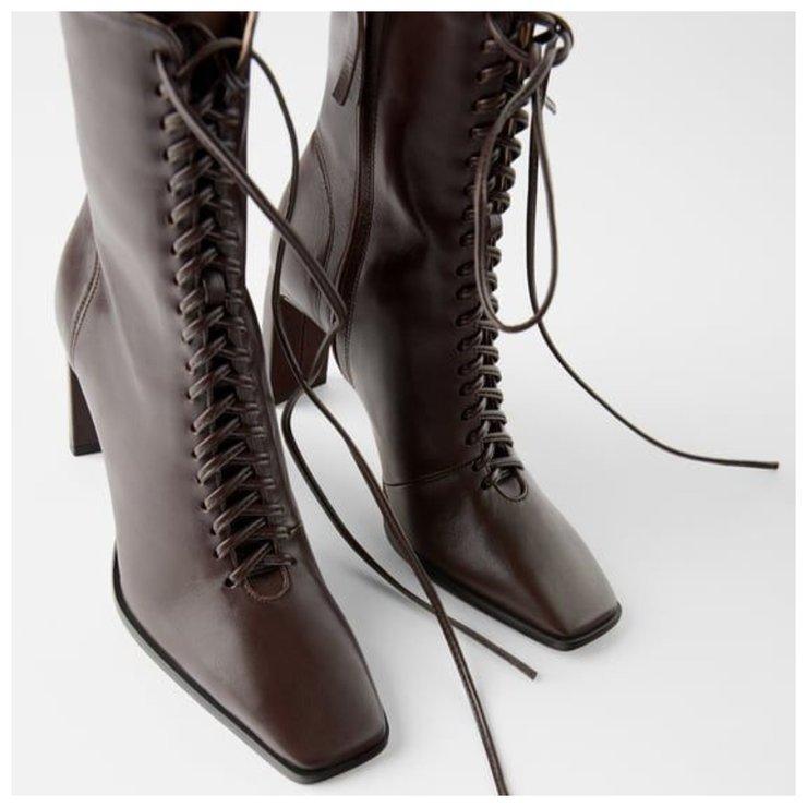 Ретро ботинки с квадратным носиком