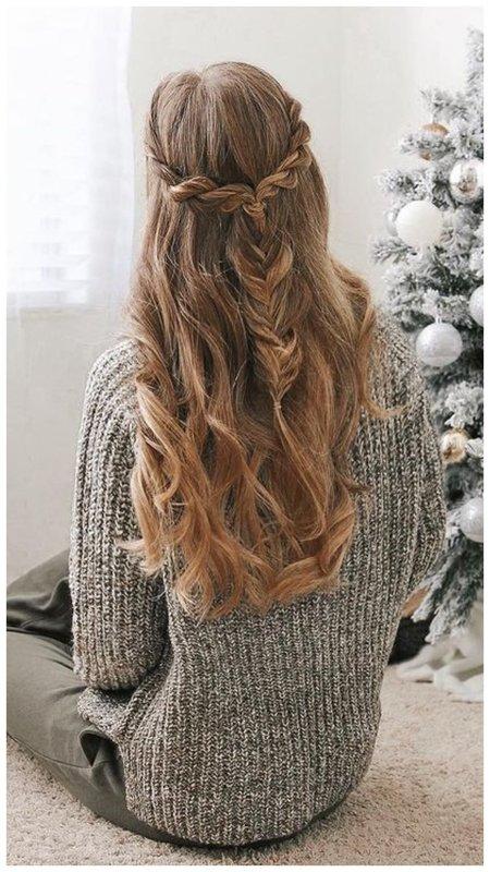 Нежная прическа на зиму для зимних волос