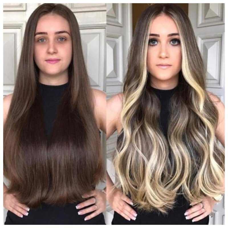 Красивое окрашивание до и после