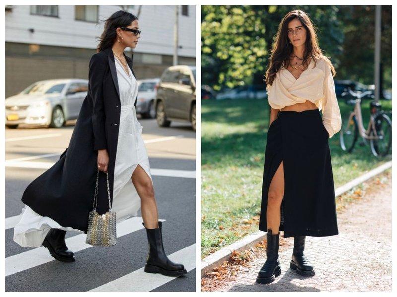Осенние ботинки и легкая юбка