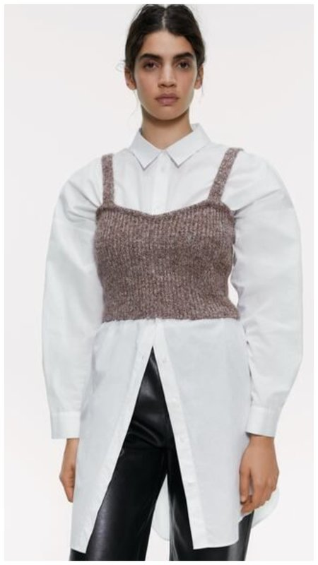 Топ Зара и белая рубашка