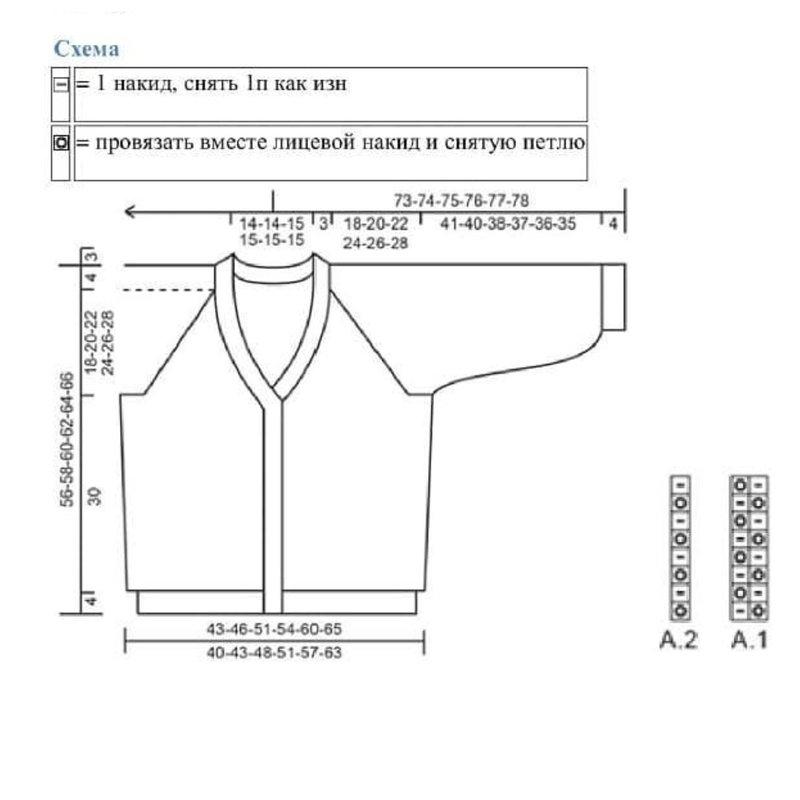 Схема вязания кардигана английской резинкой с рисунком