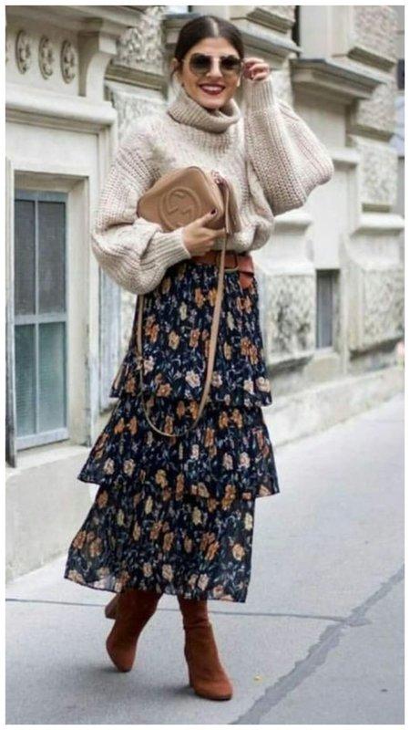 Как носить платье в дачном стиле зимой
