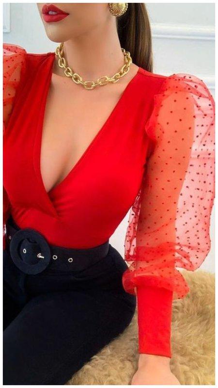 Красная новогодняя блузка