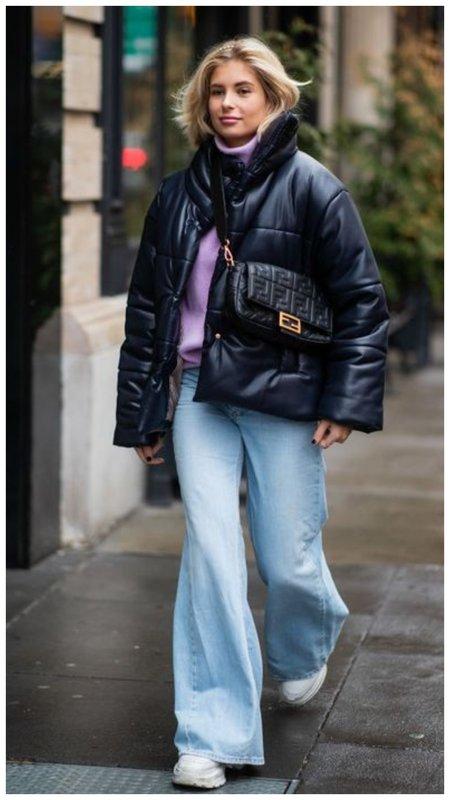 Стильный зимний образ с пуховиком и сумкой