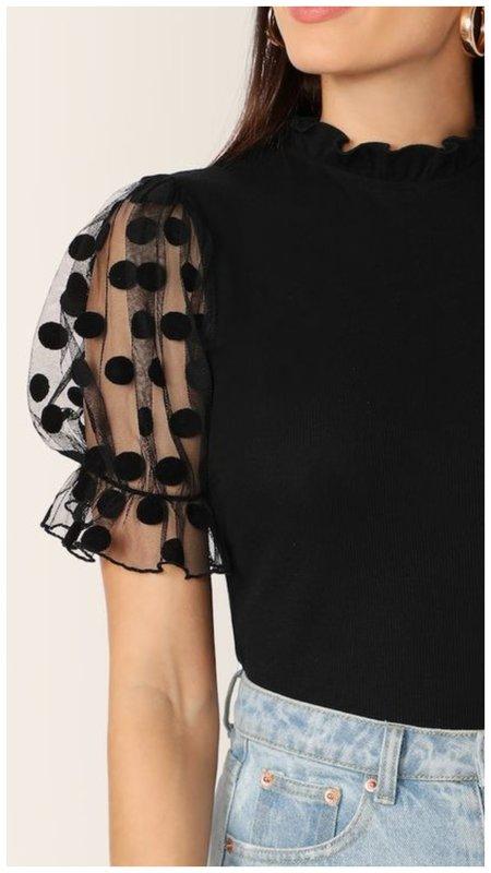Черная блузка с рукавами-фонариками