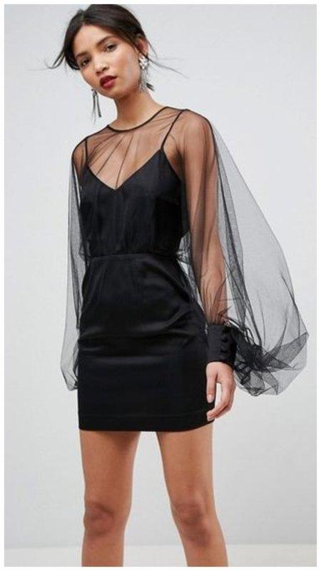 Черное платье на Новый год 2021 фото