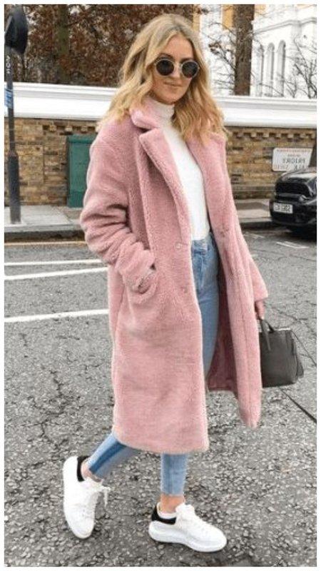 Как носить розовую шубу зимой