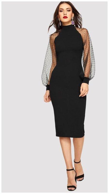Черное миди платье на Новый год 2021 фото