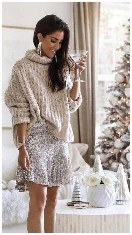 Короткая праздничная юбка с пайетками