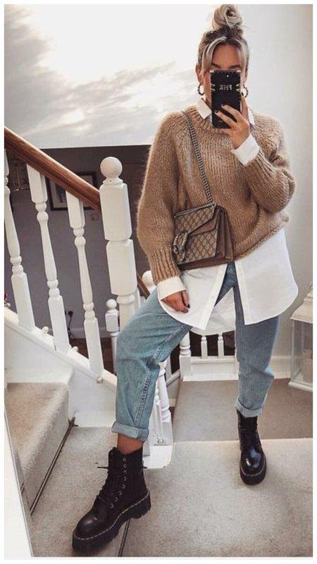 Рубашка и свитер - модный образ