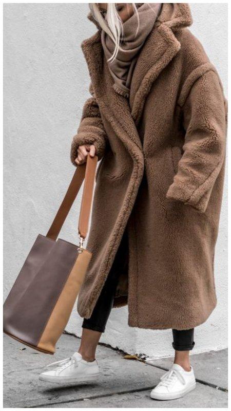 С чем носить коричневую шубу-чебурашка