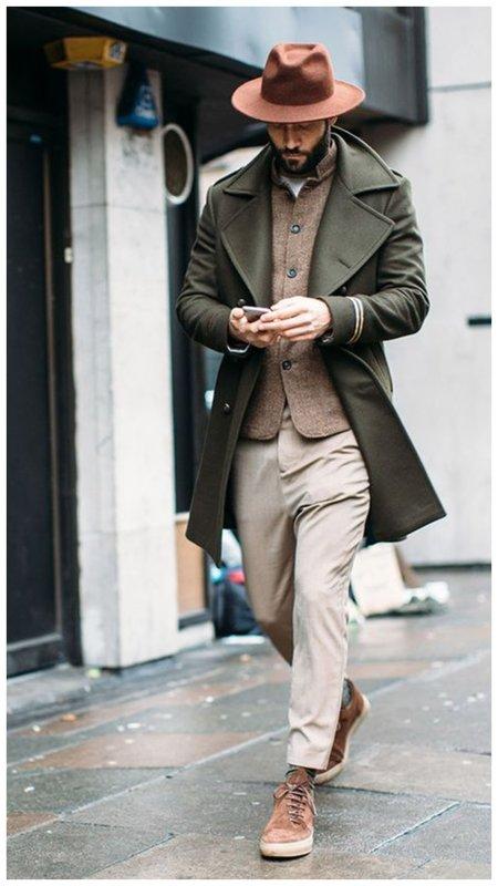 Мужское пальто цвета хаки