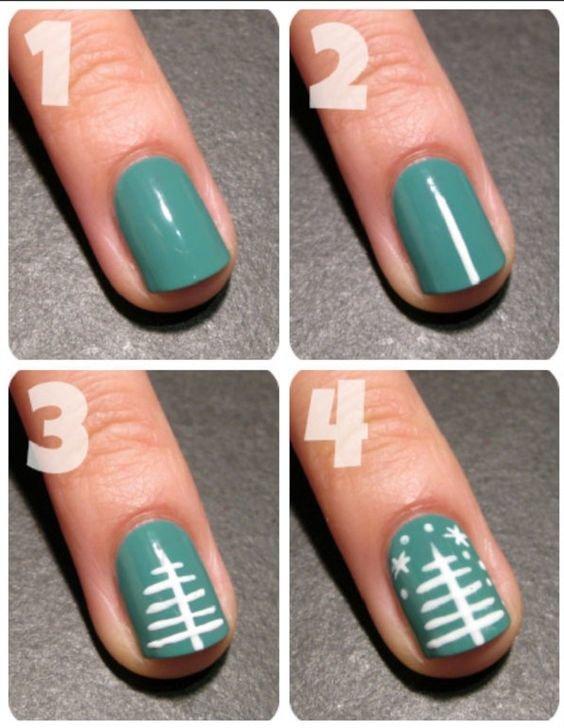 Как нарисовать елку на ногтях