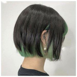 Скрытое зеленое окрашивание на короткие волосы фото