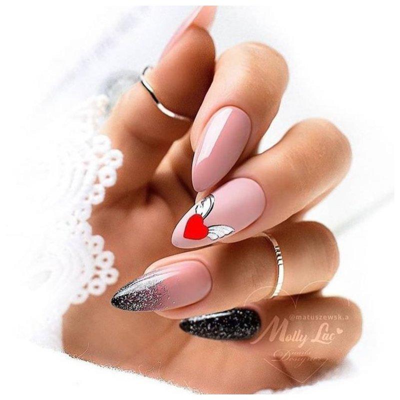 Оригинальный рисунок на ногтях к празднику СВ. Валентин