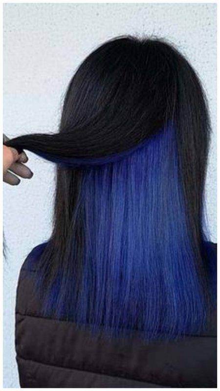 Скрытое синее окрашивание на темные волосы фото