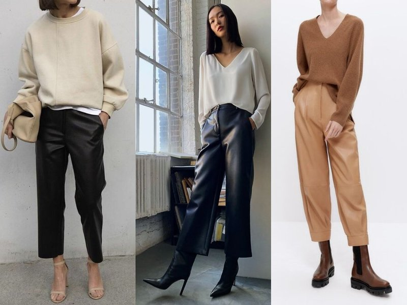 Какие кожаные брюки в моде 2021