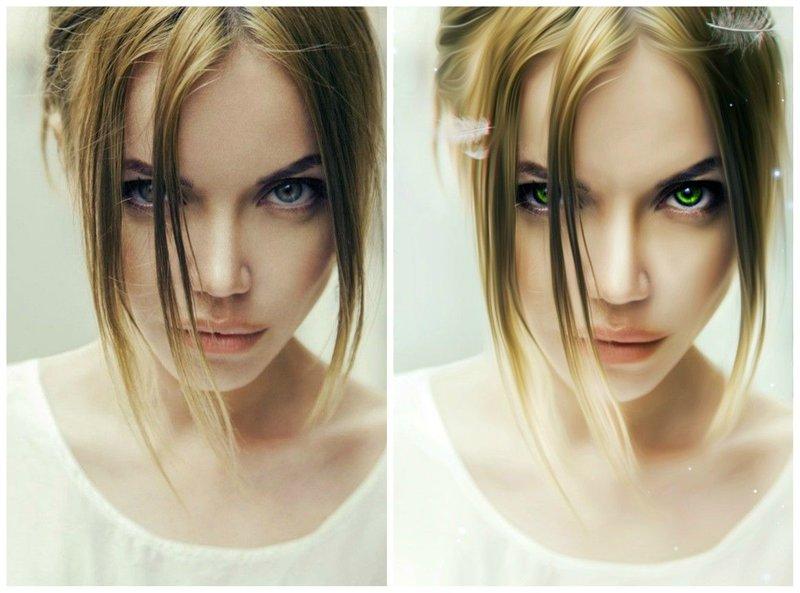 Фото девушки до и после обработки