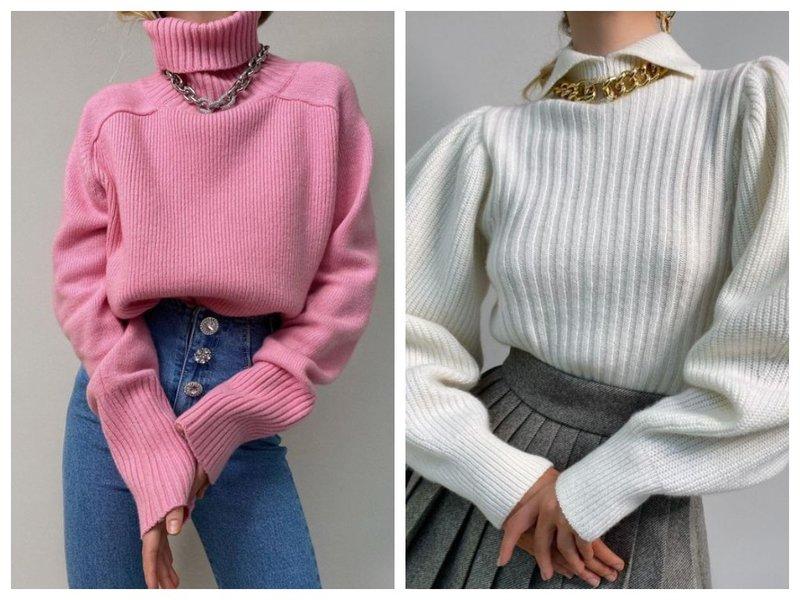 Как носить свитер с колье-цепью