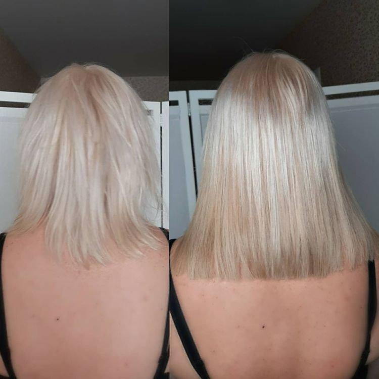 Загущение волос до и после