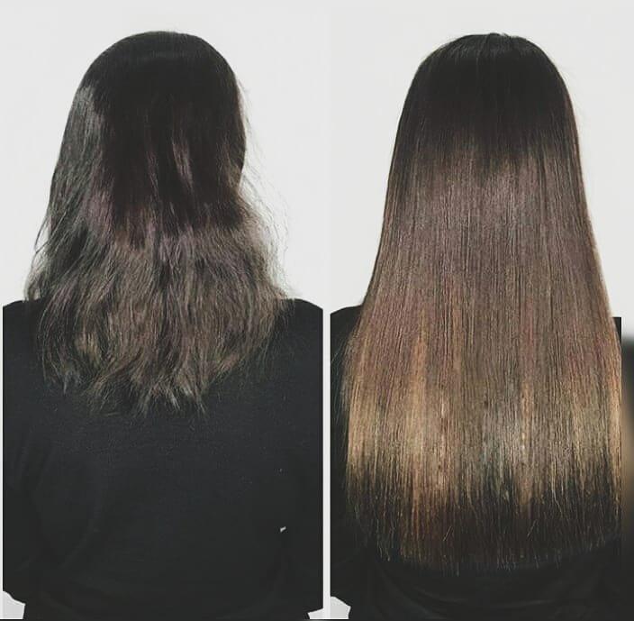 Загущение длинных волос до и после