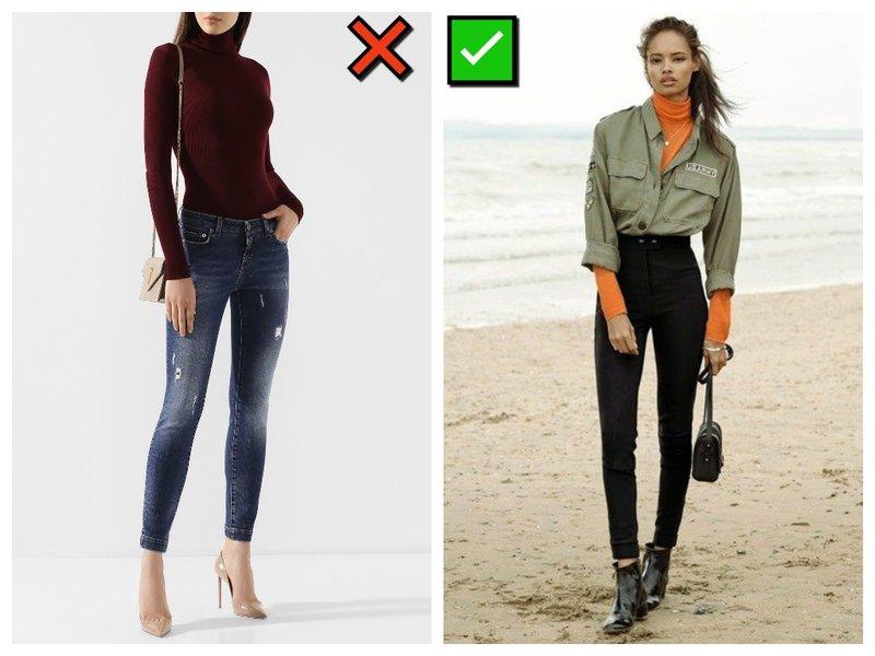 Как носить узкие джинсы с водолазкой