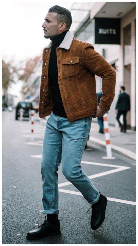 Как носить куртку с мехом зимой: мужская мода