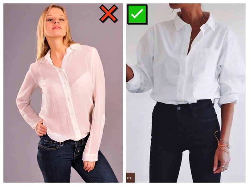С каким бельем носить белую блузку и рубашку?